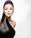 Fashion model girl with long healthy straight hair Royalty Free Stock Photos