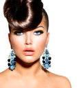 Fashion model girl portrait with blue eyes creative hairstyle Royalty Free Stock Image
