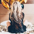 Fashion model party leisure blonde bed backview Royalty Free Stock Photo