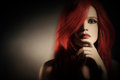 Fashion model portrait woman with red hair Stock Image