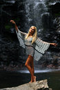 Fashion model posing in front of the waterfall Royalty Free Stock Photo