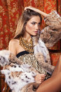 Fashion model posing in a fur coat in luxury interior always mo more on my portfolio Royalty Free Stock Image