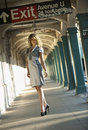 Fashion model posing pretty in nyc subway station outside with sunset light Royalty Free Stock Photos