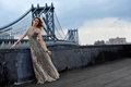 Fashion model posing sexy wearing long evening dress on rooftop location with metal bridge construction background Stock Photo