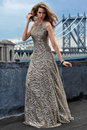 Fashion model posing sexy wearing long evening dress on rooftop location with metal bridge construction background Stock Photos