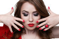 Fashion model with red lipstick and nails. Beauty Royalty Free Stock Photo