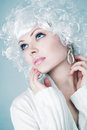 Fashion model with snow make-up Royalty Free Stock Images