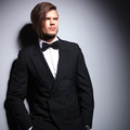 Fashion model in suit with bow tie looking away relaxed young against gray studio background Royalty Free Stock Image