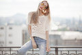 Fashion model. Summer look. Jeans, sweater, sunglasses. Royalty Free Stock Photo