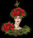Fashion Christmas Fantasy With Mistletoe and Poinsettias