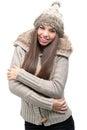 Fashion model warm winter clothing Stock Image