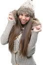 Fashion model warm winter clothing Royalty Free Stock Photos