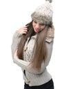 Fashion model warm winter clothing Royalty Free Stock Images