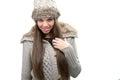 Fashion model warm winter clothing Stock Photography