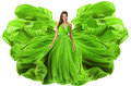 Fashion Model Waving Dress as Wings, Woman Green Gown Fabric Royalty Free Stock Photo