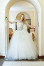 Fashion model in white dress wedding Royalty Free Stock Photography