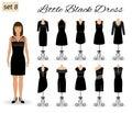 Fashion model woman in little black dress. Set of cocktail dresses on a mannequins.