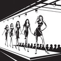 Fashion models on review represent new clothes vector illustration Stock Photo
