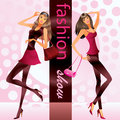 Fashion models show clothes represent new at vector illustration Royalty Free Stock Image