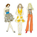 Fashion models. Sketch. Royalty Free Stock Images