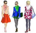 Fashion models vector illustration of Stock Images