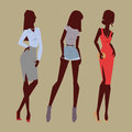 Fashion models woman silhouette sketch attractive lady elegant adult character vector illustration.