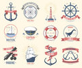 Fashion nautical logo sailing themed label or icon with ship sign anchor rope steering wheel and ribbons travel element
