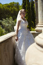 Fashion outdoor photo of gorgeous bride in luxurious wedding dress Royalty Free Stock Photo