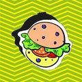 Fashion patch badge pin stocker with burger pop art style illustration Royalty Free Stock Photo