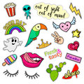 Fashion patch badges. Big set. Stickers, pins, embroidery, patches and handwritten notes collection in cartoon 80s-90s Royalty Free Stock Photo