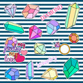 Fashion patch badges. Diamonds and jewelry set. Stickers, pins, patches handwritten notes collection in cartoon 80s-90s Royalty Free Stock Photo
