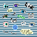 Fashion patch badges with different elements. Eyes. Set of stickers, pins, patches and handwritten notes collection