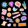 Fashion patch badges with different elements. Set of stickers, pins, patches and handwritten notes collection in cartoon