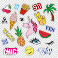 Fashion patch badges with different elements on transparent background. Set of stickers, pins, patches and handwritten