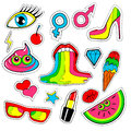 Fashion patch badges with lips kiss heart star ice cream lipstick eye shit rainbow vector background with cute s stickers pins Royalty Free Stock Image