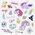 Fashion patch badges. Magic set. Stickers, pins, patches, cute collection with unicorn and rainbow. 80s-90s comic style