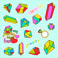 Fashion patch badges. Pop art Diamonds and jewelry set. Stickers, pins, patches handwritten notes collection in cartoon Royalty Free Stock Photo