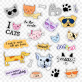 Fashion patch badges. Pop art set. Cats and dogs. Stickers, pins, patches handwritten notes collection in cartoon 80s