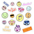 Fashion patch badges smiles set stickers pins patches and handwritten notes collection in cartoon s s comic style trend vector Royalty Free Stock Photography