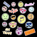 Fashion patch badges smiles set stickers pins patches and handwritten notes collection in cartoon s s comic style trend vector Royalty Free Stock Photos
