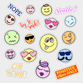 Fashion patch badges smiles set stickers pins patches and handwritten notes collection in cartoon s s comic style trend vector Royalty Free Stock Image