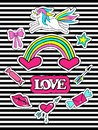 Fashion patch badges with unicorns, heart, lips, rainbow and other elements for girls. Striped background. Set of doodle