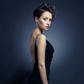 Fashion photo beautiful lady elegant evening dress Stock Photography