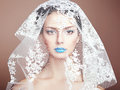 Fashion photo of beautiful women under white veil woman beauty portrait Stock Images