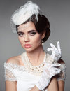 Fashion photo of beautiful young woman in pretty clothes with re Royalty Free Stock Photo