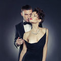 Fashion photo sexy elegant couple tender passion Royalty Free Stock Photo