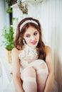 Fashion photo of smiling girl wearing wedding dress Royalty Free Stock Photo