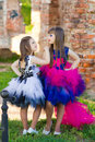 Fashion photo of two beautiful girls on a background of brick ru Royalty Free Stock Photo