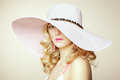 Fashion photo of young magnificent woman in hat. Girl posing Royalty Free Stock Photo