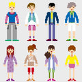 Fashion pixel people icons Stock Images